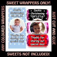 Personalised Baby Christening Birthday Love Heart Sweet WRAPPERS Kids Boy Girl