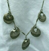 Vintage 5X Necklace Baskets Charms Metal Silver Tone Chain