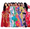 Women's Long Sleeve Floral Printed Sexy V Neck Chiffon Maxi Dress Beach Sundress