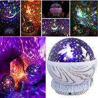 Rotating LED Light Projector Star Moon Sky Romantic Night Mood Lamp Xmas Gift