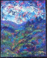 MOUNTAINSIDE TREES Original Abstract Landscape Knife Painting 16x20 TEXTURE ART