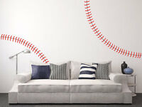 Giant Full Wall Baseball Stitches Decal