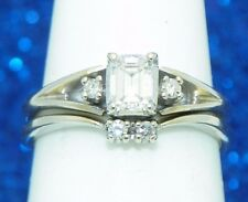 1/3+ ct DIAMOND BRIDAL WEDDING RING SET SOLID 14 KW GOLD 4.1 g SIZE 7