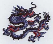 Iron On Embroidered Applique Patch Chinese Blue and Red Dragon