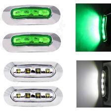 2X WHITE + 2X GREEN LED CLEARANCE LIGHTS, SIDE MARKER LAMP TRAILER TRUCK 9 - 33V