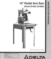 Delta 12 Inch Radial Arm Saw Instruction Maintenance Manual 33 890 33 895x