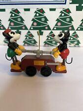 Christmas Disney Hallmark Keepsake Mickey Mouse & Minnie Handcar Ornament NIB