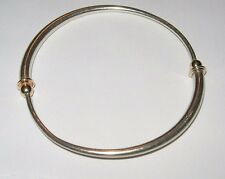 "HTF Rare Ed Levin 7.5"" Sterling Silver 14K Yellow Gold Bangle Bracelet Signed KT"