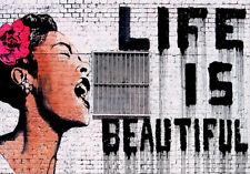 BANKSY FRAMED CANVAS STREET GRAFFITI PAINTING ART PRINT FRIDA LIFE IS BEAUTIFUL