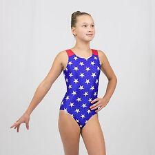 Gymnastics  Tank Leotard size Medium Child(8-10 years) Blue/ White stars print