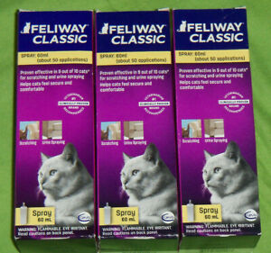 FELIWAY CLASSIC SPRAY for cats 60 mL ~ LOT OF 3
