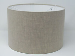 **. SALE. **  Lampshade Natural Textured 100% Linen Drum Light Shade