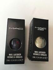 New Lot Of 2 MAC Studio Nail Lacquer Silver Dew Formidable Glitter Polish 10 Ml