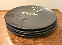 ROSCHER STONEWARE LOT OF 4 DINNER PLATES RRM61 DARK BROWN GRAY BLACK USED COND