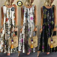 Womens Boho Cotton Linen Casual Floral Vintage Sleeveless Maxi Dress Plus S-5XL