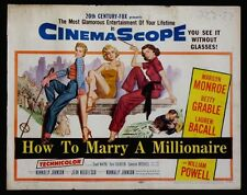 HOW TO MARRY A MILLIONAIRE MARILYN MONROE GRABLE BACALL 1953 HALF-SHEET ROLLED