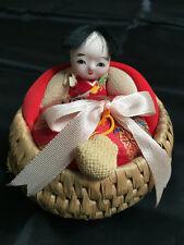 VTG Japanese Ejiko Ningyo Doll Basket with Toys North of Japan