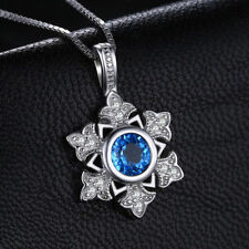 1ct Lovely Delicate Swiss Blue Topaz Snowflake Pendant Sterling Silver Necklace