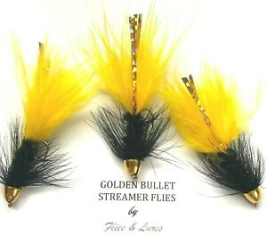 4, 6 or 8 Trout Fly Fishing Streamer wet Flies GOLDEN BULLET SUNBURST. 1st post