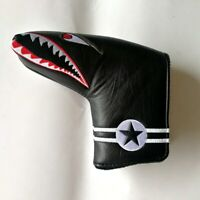1pc Black with Shark Embroidery Magnet Golf Blade Putter Head Cover For Odyssey