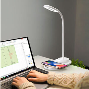 LED Desk Lamp Touch USB Charging Table Reading Light + Wireless Phone Charging