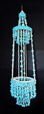 "36"" BLUE COLORED BUBBLE SEA SHELL PLANT HANGER CHANDELIER, DECOR HANGING BASKET"