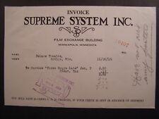 Movie Billhead Supreme System 1919 Three Hours Late Dorothy Dane Bobby Vernon