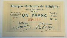 1 Franc Frank Société Générale Compte Courant Rekeningen Belgique Belgïe Belgium