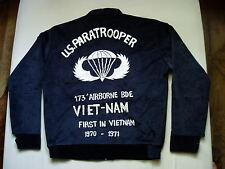 Souvenir Jacket US Paratrooper 173 Airborne Vietnam Veste Velours Noir Brodé 40