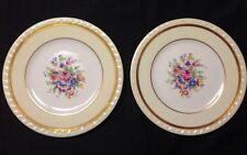 Set (2) Charles Ahrenfeldt Limoges Versailles Gold Trim Plates Floral Pattern