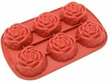 Freshware CB-205RD 6-Cavity Rose Shape Silicone Mold For Homemade Soap, Cake,