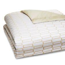 Pratesi Bedding Check Jacquard Egyptian Cotton QUEEN Duvet Cover Gold $660 G5077