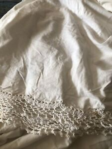 Crochet Bottom Bed Skirt twin Size Beige/Ivory Shabby Chic Farmhouse A4