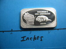 WISCONSIN BADGER 125TH ANNIVER 1973 VINTAGE USSC MINT 999 SILVER BAR COIN RARE
