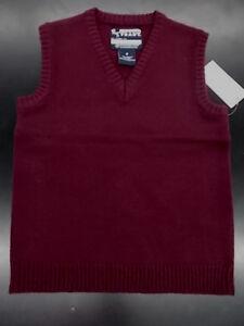 Boys French Toast Uniform Burgundy Sweater Vest Size 7 & 8