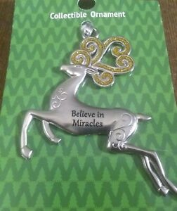 "Christmas Deer Silver Ornament by Ganz ""Believe in Miracles"" Collectable New"
