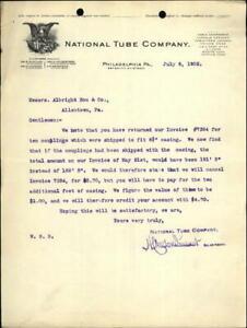 1902 Philadelphia Pennsylvania (PA) Letter National tube company
