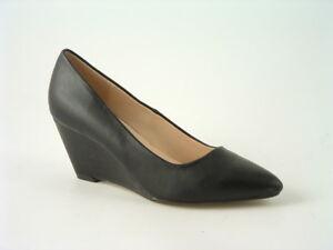 Wedge Court Shoe Ladies women's Black Faux Leather  heel sizes 3 -8 Work Leisure