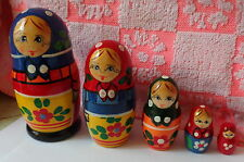 """old russian design Zagorsk Russian Nesting Doll 5 Pcs 4.5"""" #2"""