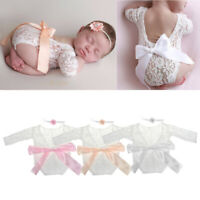1 Set Newborn Photography Props Baby Girl Lace Romper Infant Photo Shoot Clothes