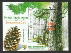 INDONESIA 2011 ENVIRONMENTAL CARE FORESTS SOUVENIR SHEET OF 2 STAMPS IN MINT MNH