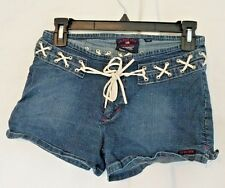 US POLO ASSN WOMENS SHORTS 7/8 BLUE JEANS Leather String Tie 102712 STRETCHY