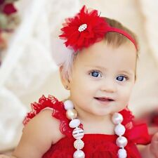 Baby Toddler Girls Lace Pearl Feather Flower Christmas Headband HairBand