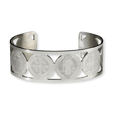 Saint Bracelet Cuff ST BENEDICT Protection Medal Stainless Steel Exorcism