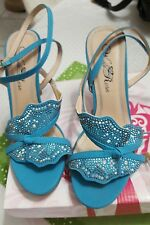 "Torquoise Ankle Strap Womans Shoes, Size 7, Faux Suede, 4"" Heel, W/ Crystals"