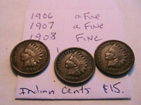 1906, 07, 08 Matched Lot of 3 Nice Fine Indian Head Bronze Cents One Penny Coins