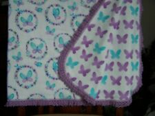 BUTTERFLIES*BEAUTIFUL FLANNEL BLANKET*HAND CROCHETED EDGE*LAVENDER TURQUOISE