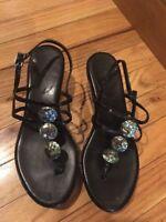 VANELi Women's Black Wedge Ornaments Sandal Black Sz 6 Cute Strap