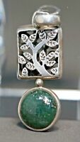 MCM Mexico Taxco Sterling Silver Neck Pendant Aventurine Tree Branches Open Work