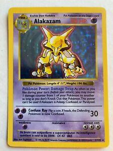 Pokemon 1999 Alakazam 1/102 Holo Base Set Shadowless Lightly Played